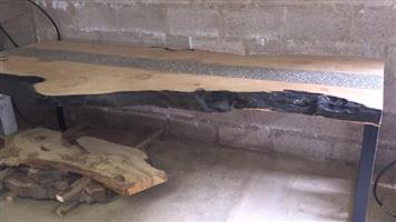 Raw edge/concrete table