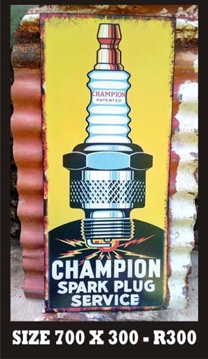 Used, Old Champion Plug Metal Sign for sale  Hartbeespoort