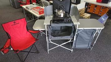 Complete camping kitchen with chair