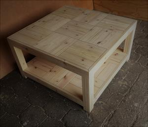 Coffee table Farmhouse series 1000 square with shelf - Raw