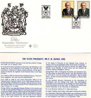 Commemorative Stamp & Envelope Set - P.W. Botha 1984