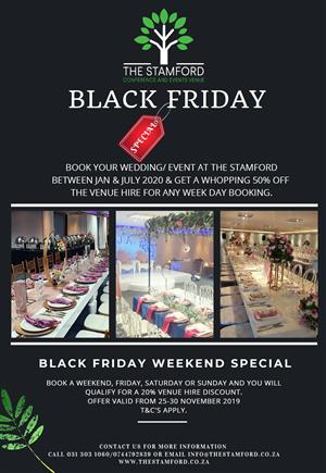 BLACK FRIDAY SPECIALS NOW  AT THE STAMFORD CONFERENCE AND EVENTS VENUE