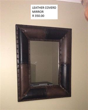Leather covered mirror for sale