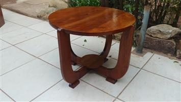 Beautiful old solid oak round Deco coffee table.