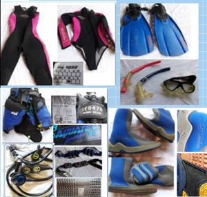 DIVING / SCUBA WET SUITS AND EQUIPMENT