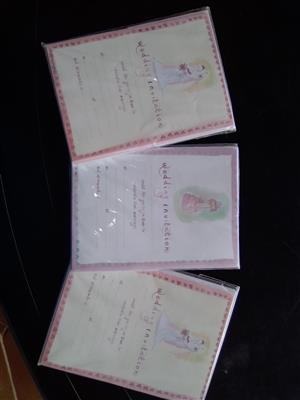 Wedding invites and cake boxes