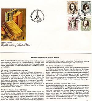 Commemorative Stamp & Envelope Set - English Writers of South Africa 1984