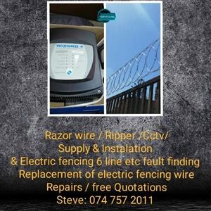 Spike Fencing / Razor wire supply and fitted Electric fencing / at low cost