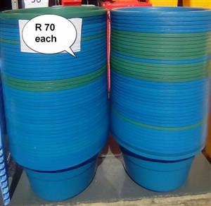 Green and blue water buckets