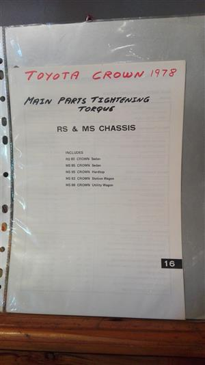 Crown 1978: tightening torques