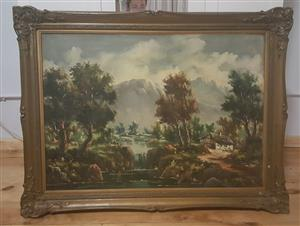 Beautiful Massive Large Antique Painting