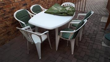 Plastic outdoor table and chairs set