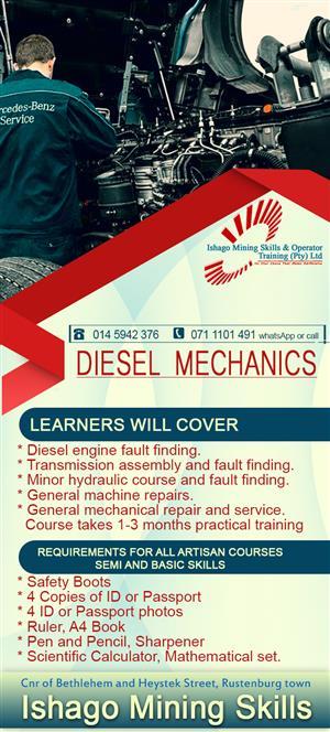 Diesel mechanics training center in rustenburg/mahikeng  whatsap/call +27815568232