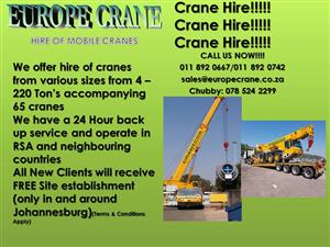 Europe Crane Crane Hire at affordable prices