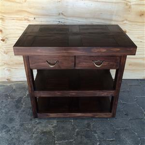 Kitchen Island Farmhouse series 1000 with 2 drawers mobile stained