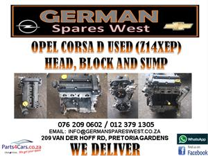 OPEL CORSA D USED ( Z14XEP) HEAD, BLOCK AND SUMP FOR SALE