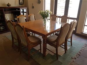 8 seater dining room table with chairs