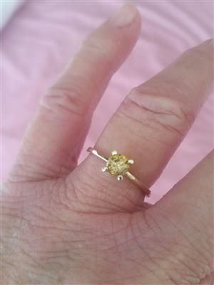 Natural Golden brown fancy range diamond ring
