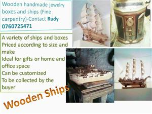 Wooden handmade ships and jewellery boxes