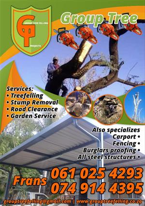 Tree felling and gardening services