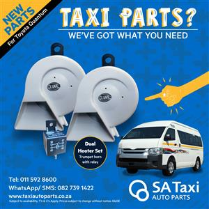 NEW Dual Hooter Set / Taxi Trumpet Horn with relay suitable for Toyota Quantum - SA Taxi Auto Parts