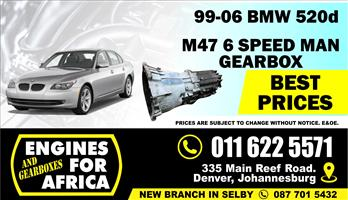 Used BMW 520d M47D20 99-08 6speed Gearbox FOR SALE
