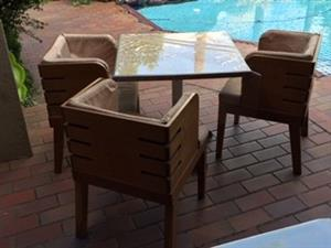 4 Piece solid wood table & chair set