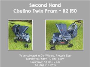 Second Hand Chelino Twin Tandem Pram - Blue