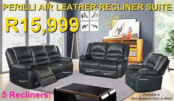 PERILLI 6 Piece, 5 Recliner Suite In Air-Leather - R15,999
