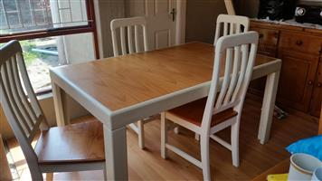 Solid Pine Dining room Table and 4 Chairs for sale