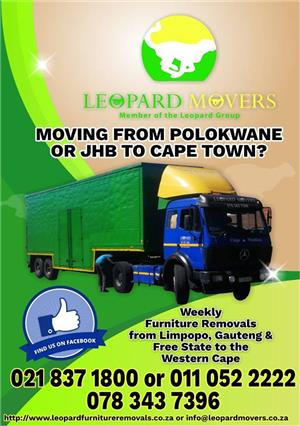 Furniture Removals From Jhb or Pretoria to Cape Town - Leopard Movers 02183718000 0110522222 0127717771