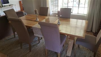 mango wood dining table, 6 chairs
