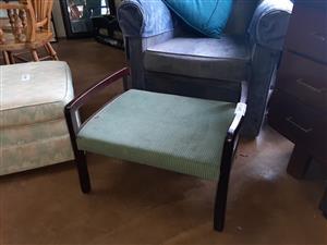 Mahogany, upholstered footstool