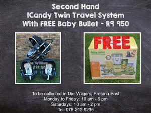 Second Hand ICandy Twin Travel System with FREE Baby Bullet