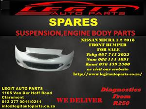 NISSAN MICRA 1.2 2018 FRONT BUMPER FOR SALE