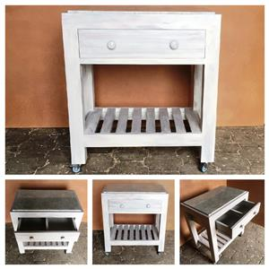 Butchers Block Farmhouse series 800 with 1 drawer - Grey washed