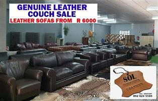 PRELOVED GENUINE LEATHER COUCHES, Two and Three Seater Lounge Suites, CONTACT SOL, 082 624 5168