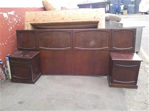 King-size mahogany headboard with pedestals