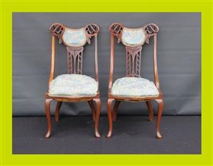Pair of Victorian Mahogany Hall Chairs - SKU 707