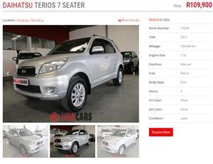 2011 Daihatsu Terios Long 1.5 4x4 7 seater