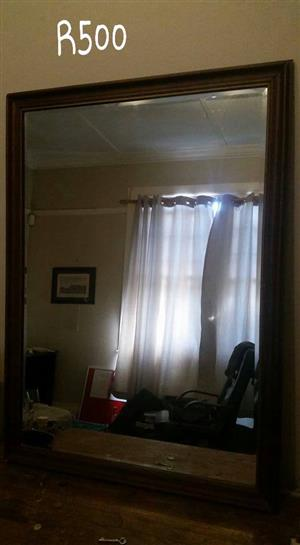 Large Solid wood frame Large mirror for sale.