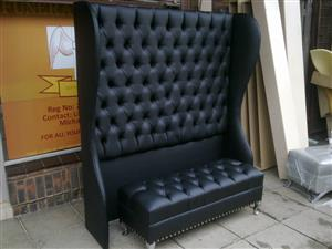 Black Leather Customised Diamond Headboard and Blanket box
