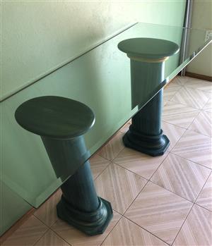 Ceramic columns glass top ornament side table