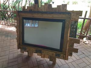 Wooden pallet framed mirror for sale