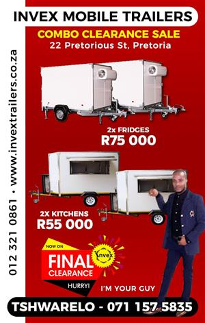 Mobile Fridge - Cold rooms -Freezers - Chillers Combo clearance sale!