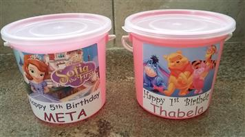 PARTY BUCKETS FOR KIDS BIRTHDAY FOR SALE