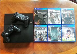 Playstation 4 1TB, 2 controllers and 6 Games