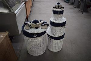 Blue teddy laundry basket set