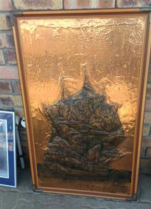 Brass ship scene wall decor