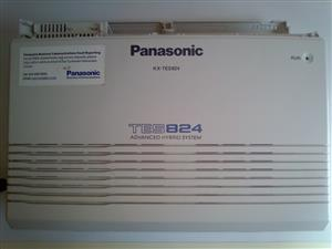 Panasonic PABX KX-TES 824.  #Maximum configuration - 8 Analogue CO / 24 Extensions  #Call Forwarding (Busy / No Answer / Follow-Me / to Outside)  #Built-in Voice Message (BV)  #DISA (Direct Inward System Access)  #Uniform Call Distribution (UCD)